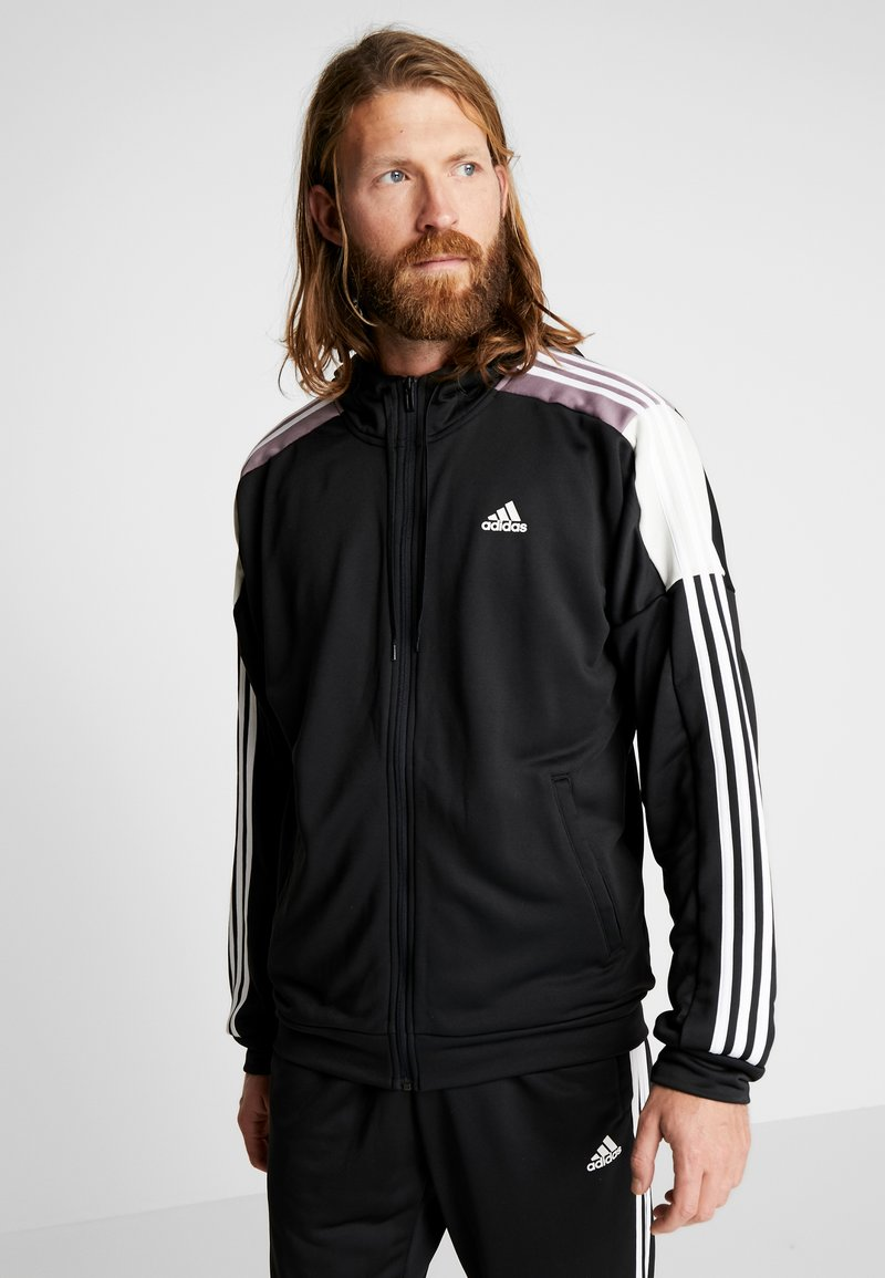 adidas Performance - 3STRIPES AEROREADY ATHLETICS SPORT TRACKSUIT - Tepláková souprava - black/white