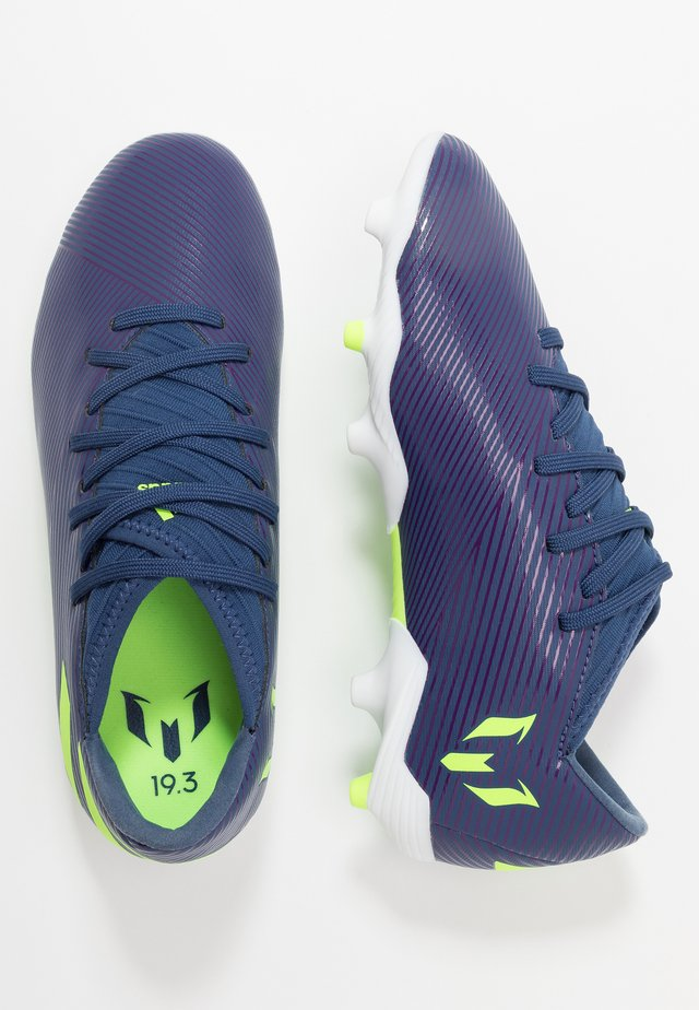 NEMEZIZ MESSI 19.3 FG - Moulded stud football boots - tech indigo/signal green/glow purple