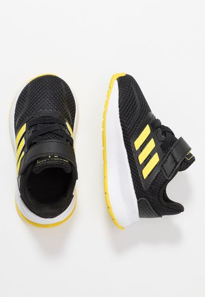 RUNFALCON - Chaussures de running neutres - core black/shock yellow/footwear white