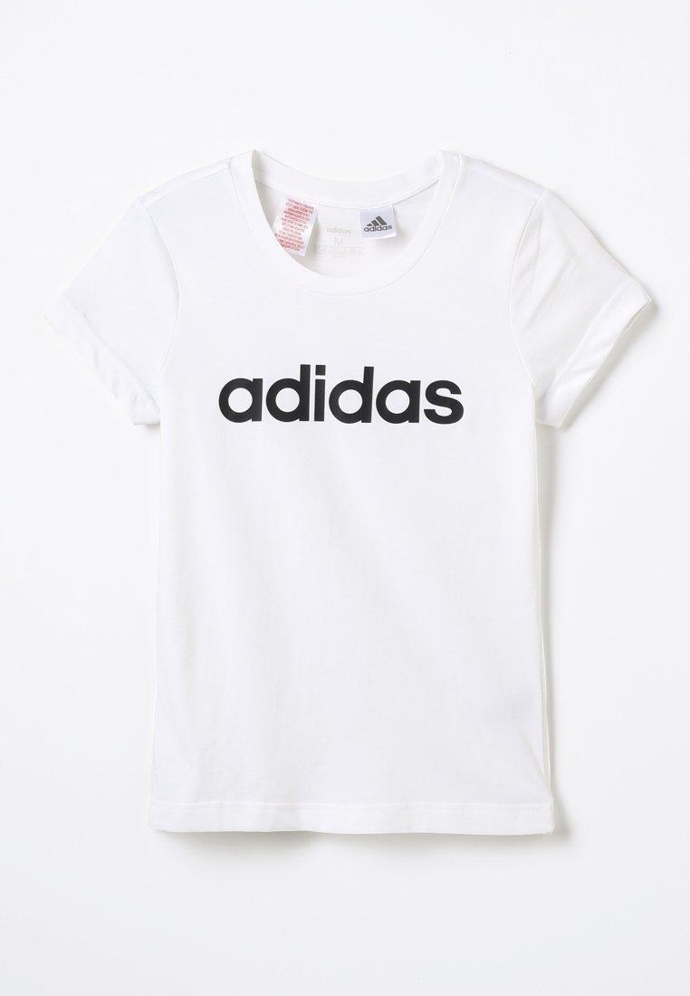 adidas Performance - LIN TEE - T-Shirt print - white/black