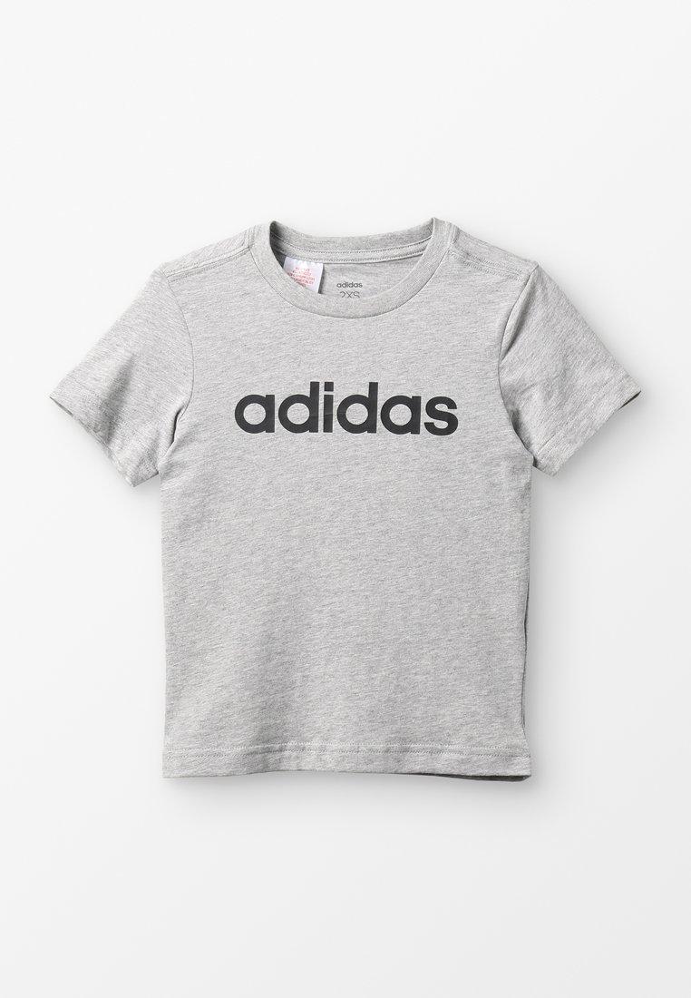 adidas Performance - LIN TEE - Triko spotiskem - mottled grey heather/black