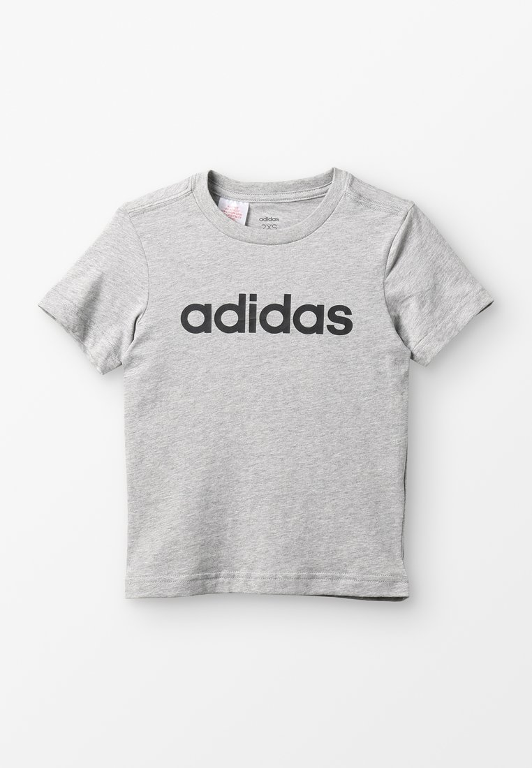 adidas Performance - LIN TEE - T-Shirt print - mottled grey heather/black