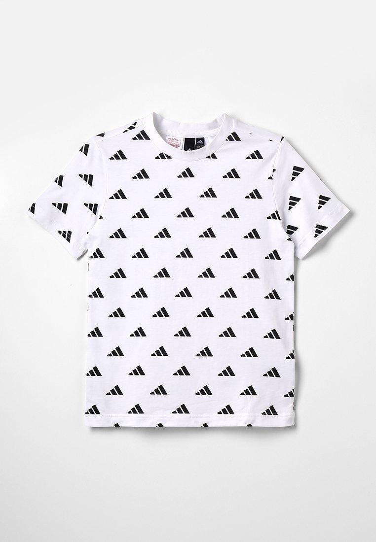 adidas Performance - HYPE TEE - T-shirt print - white/black