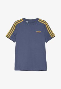 adidas Performance - ESSENTIALS 3STRIPES SPORT SHORT SLEEVE TEE - T-shirt print - dark blue/gold - 2