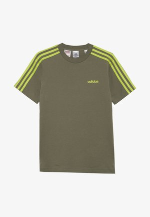ESSENTIALS 3STRIPES SPORT SHORT SLEEVE TEE - T-shirt imprimé - olive/light green