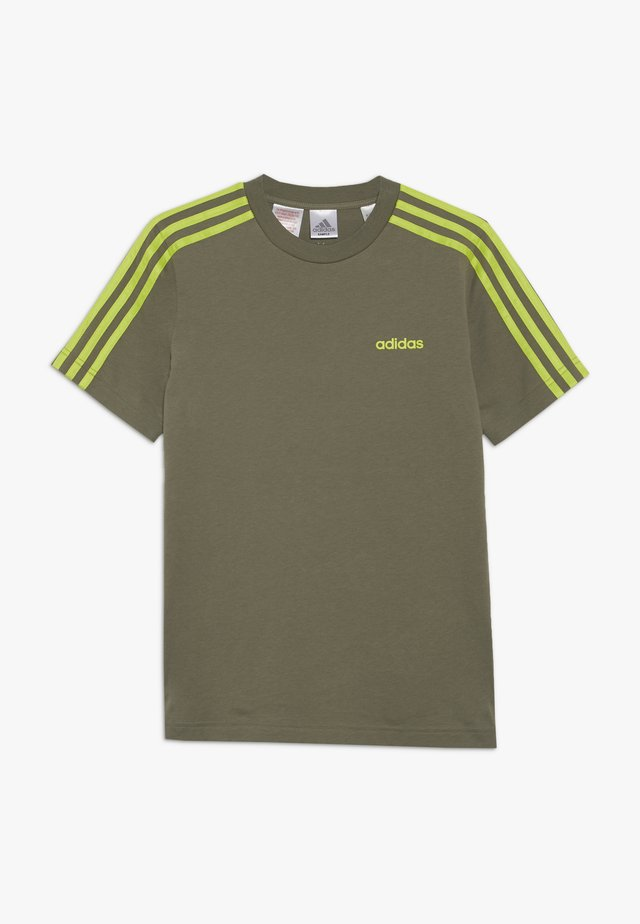 ESSENTIALS 3STRIPES SPORT SHORT SLEEVE TEE - Camiseta estampada - olive/light green