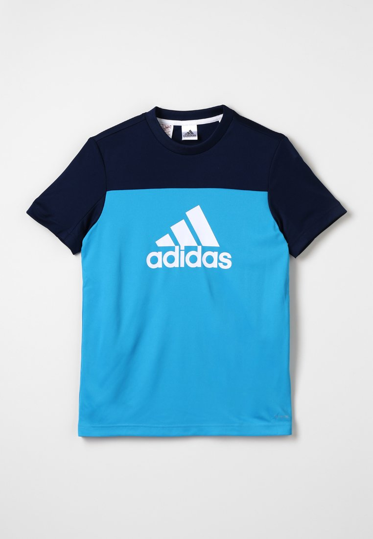 adidas Performance - TEE - Print T-shirt - shock cyan/collegiate navy/white