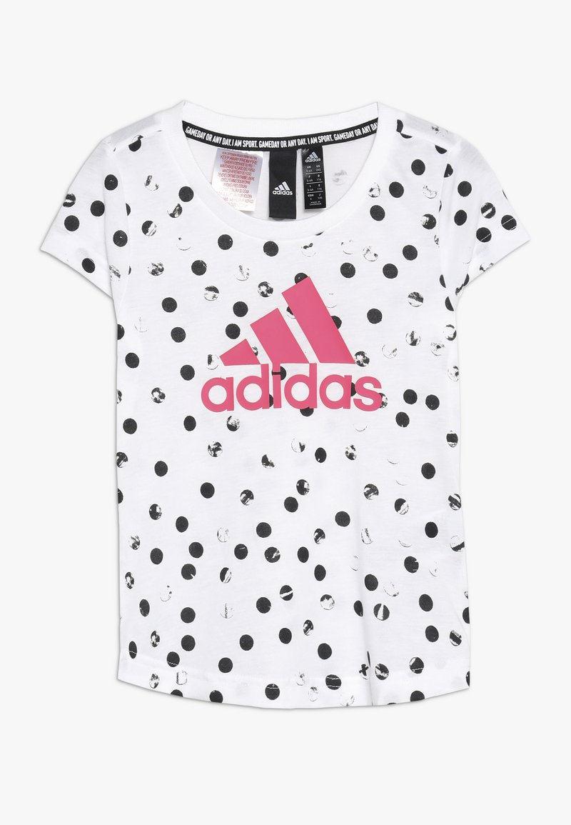 adidas Performance - TEE - T-Shirt print - white/black/real pink