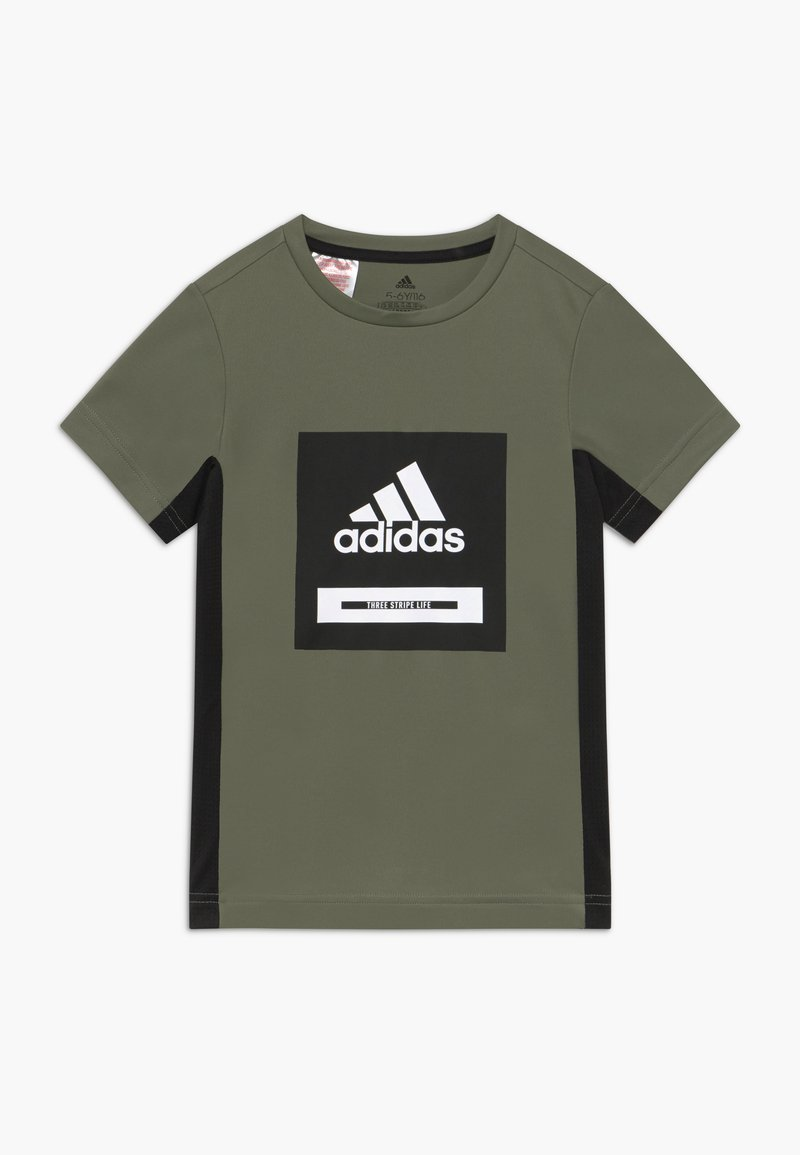 adidas Performance - BOLD TEE - T-shirt imprimé - leggrn/black/white