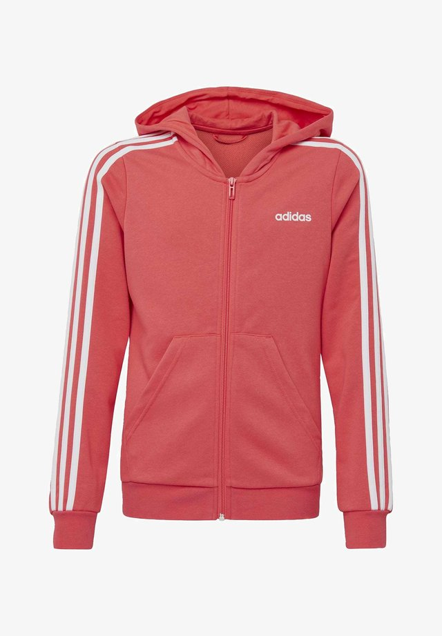 ESSENTIALS 3-STRIPES HOODIE - Huvtröja med dragkedja - pink