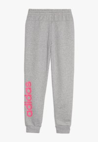 adidas Performance - YOUNG GIRLS ESSENTIALS LINEAR SPORT PANTS - Teplákové kalhoty - medium grey heather/real pink