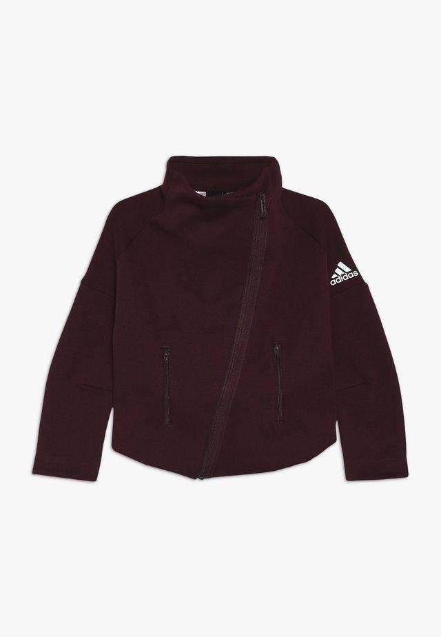 Zip-up hoodie - maroon/white