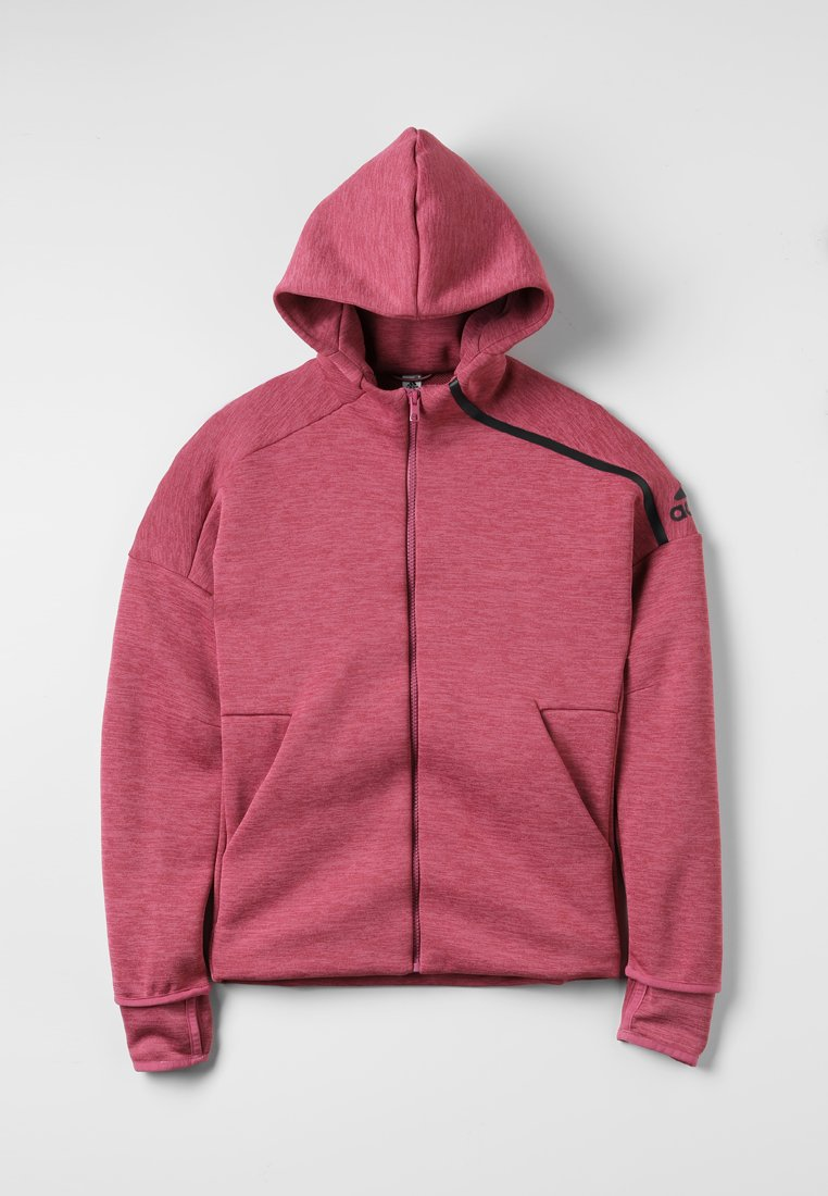 adidas Performance - HOODIE - Sweatjacke - heather/trace maroon/pantone