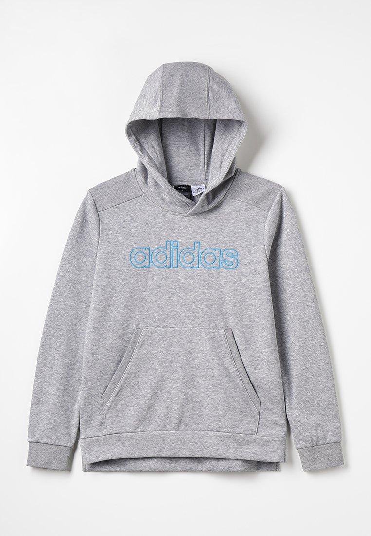 adidas Performance - Jersey con capucha - medium grey heather/shock cyan