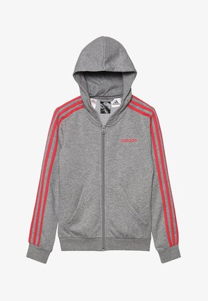 Felpa aperta - medium grey heather/pink