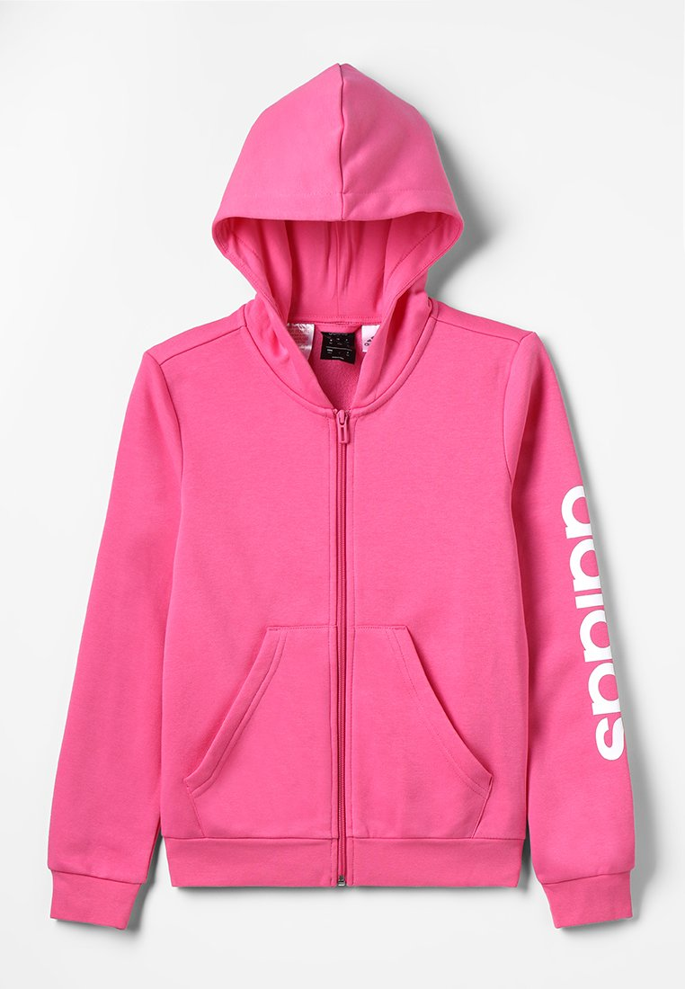 adidas Performance - ESSENTIALS LINEAR HOODIE - Hoodie met rits - semi solar pink/white