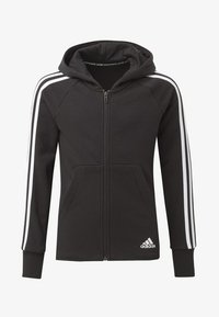 adidas Performance - MUST HAVES 3-STRIPES HOODIE - Bluza rozpinana - black - 0