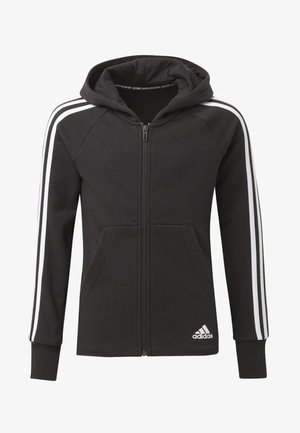 MUST HAVES 3-STRIPES HOODIE - Mikina na zip - black