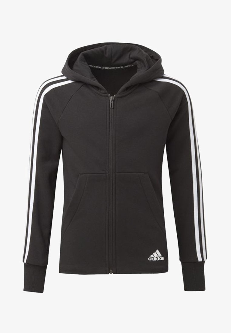 adidas Performance - MUST HAVES 3-STRIPES HOODIE - Bluza rozpinana - black