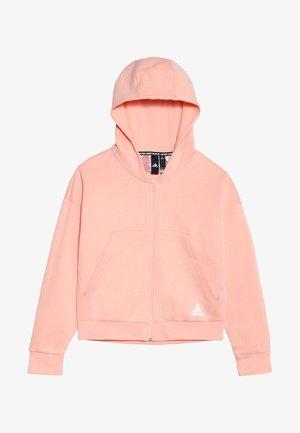 Huvtröja med dragkedja - glow pink/white
