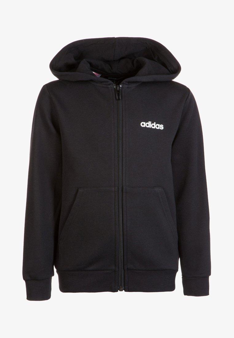 adidas Performance - ESSENTIALS LINEAR HOODIE - Hoodie met rits - black / white