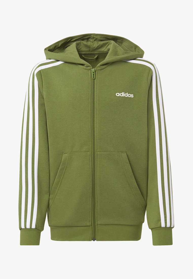 adidas Performance - ESSENTIALS 3-STRIPES HOODIE - Sweatjacke - green
