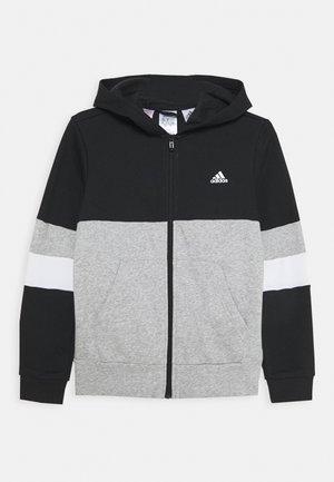 Zip-up hoodie - black/medium grey heather/white