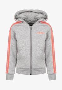 adidas Performance - ESSENTIALS 3 STRIPES KAPUZENJACKE KINDER - veste en sweat zippée - medium grey heather / signal coral - 0