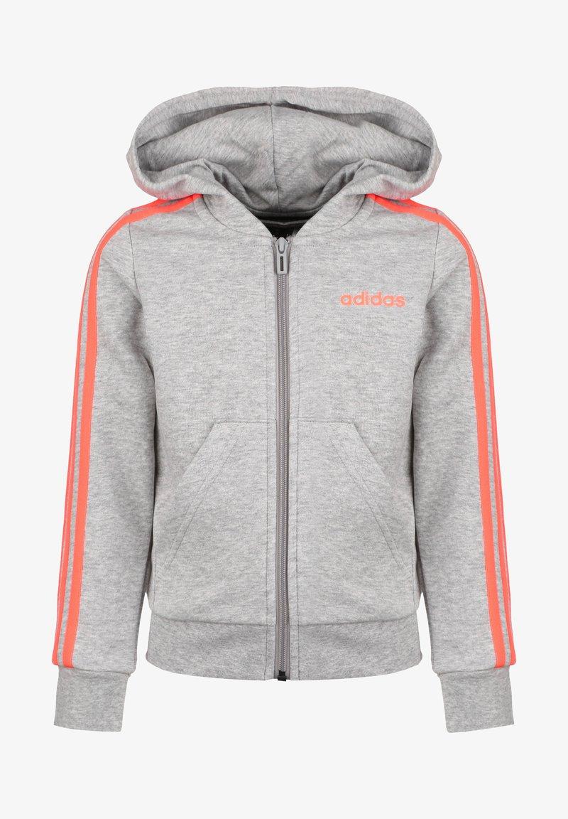 adidas Performance - ESSENTIALS 3 STRIPES KAPUZENJACKE KINDER - veste en sweat zippée - medium grey heather / signal coral