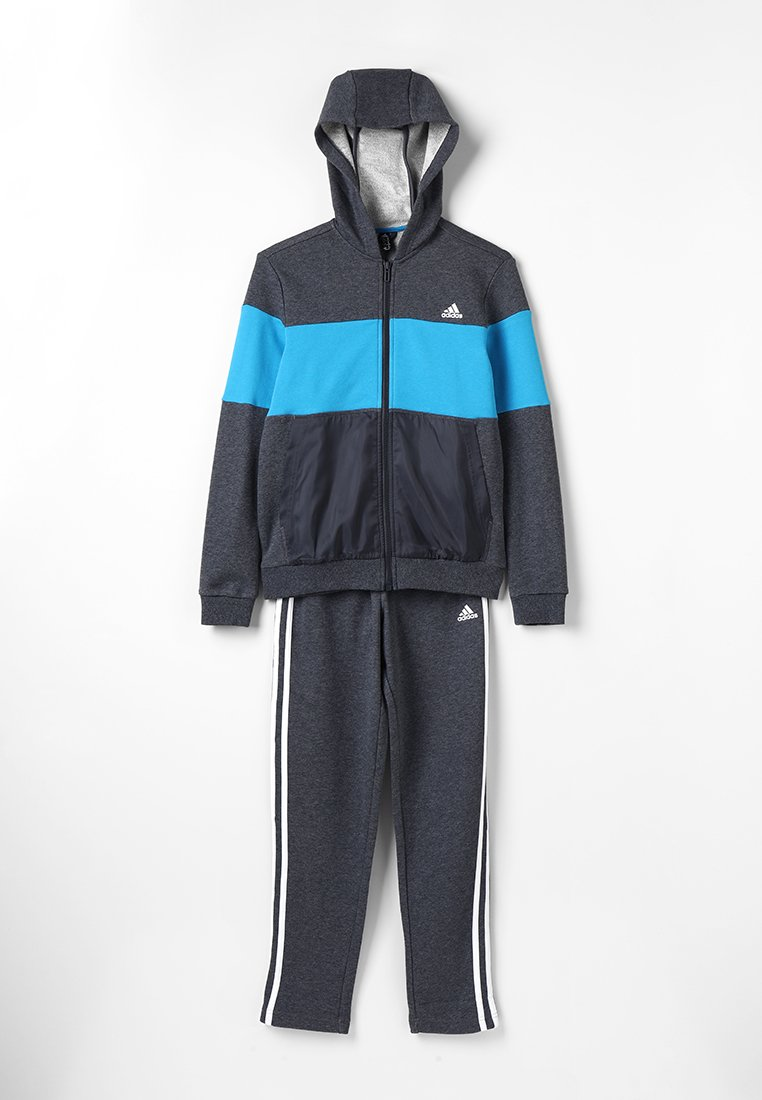 adidas Performance - Tracksuit - dark grey heather/shock cyan/grey six