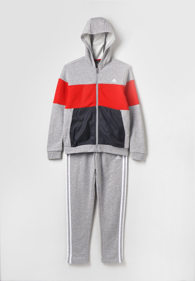adidas Performance - Trainingsanzug - medium grey heather/active red/grey six/white