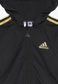 adidas Performance - SHINY FULL ZIP HOODED TRACKSUIT BABY SET - Chándal - black/gold - 4