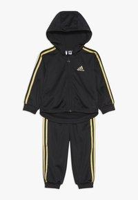 adidas Performance - SHINY FULL ZIP HOODED TRACKSUIT BABY SET - Chándal - black/gold - 0