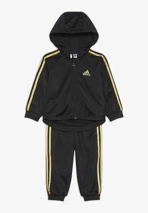 SHINY FULL ZIP HOODED TRACKSUIT BABY SET - Chándal - black/gold