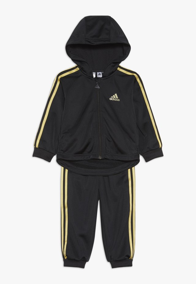 SHINY FULL ZIP HOODED TRACKSUIT BABY SET - Verryttelypuku - black/gold