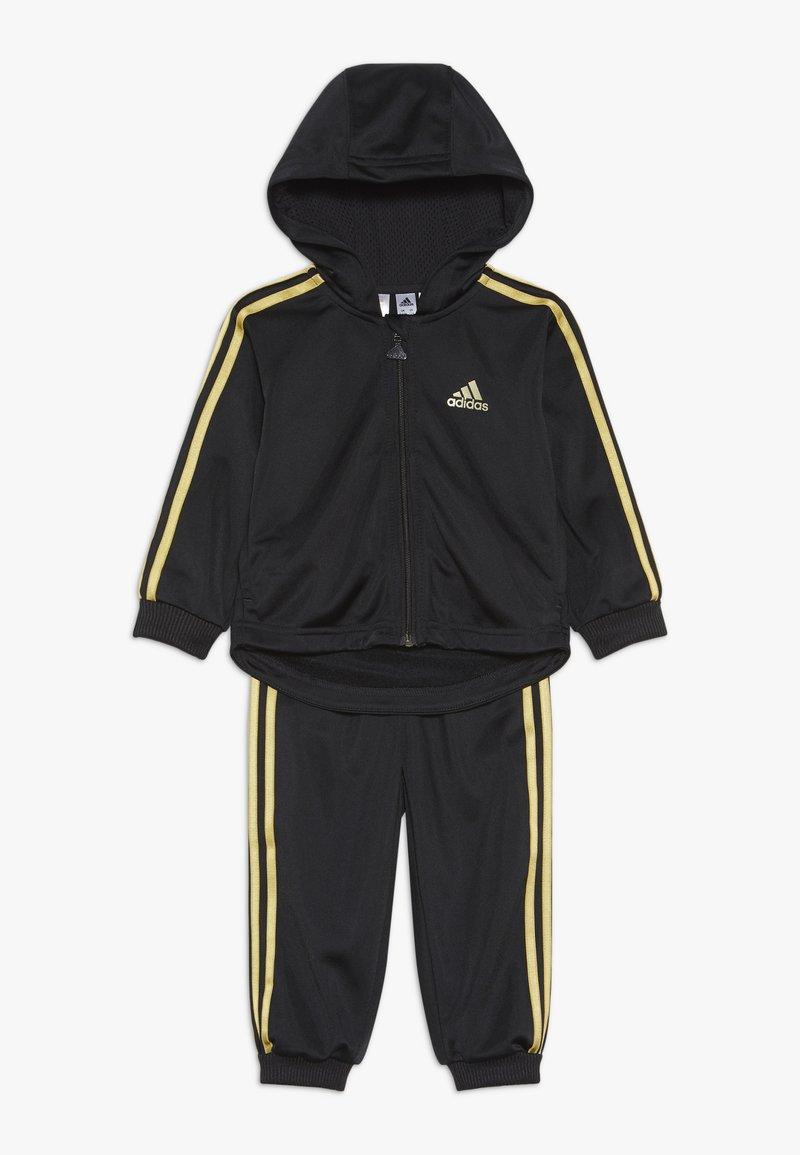 adidas Performance - SHINY FULL ZIP HOODED TRACKSUIT BABY SET - Chándal - black/gold