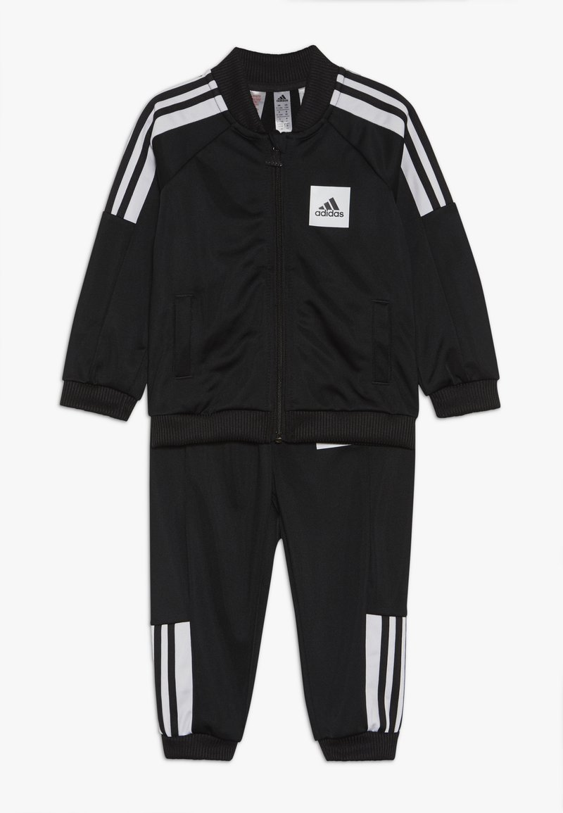 adidas Performance - SHINY TRACKSUIT BABY SET - Tuta - black/white/black