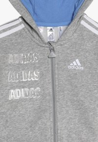 adidas Performance - LOGO FULL ZIP HOODED TRACKSUIT BABY SET - Tepláková souprava - mottled light grey/blue - 5