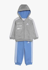 adidas Performance - LOGO FULL ZIP HOODED TRACKSUIT BABY SET - Tepláková souprava - mottled light grey/blue - 0