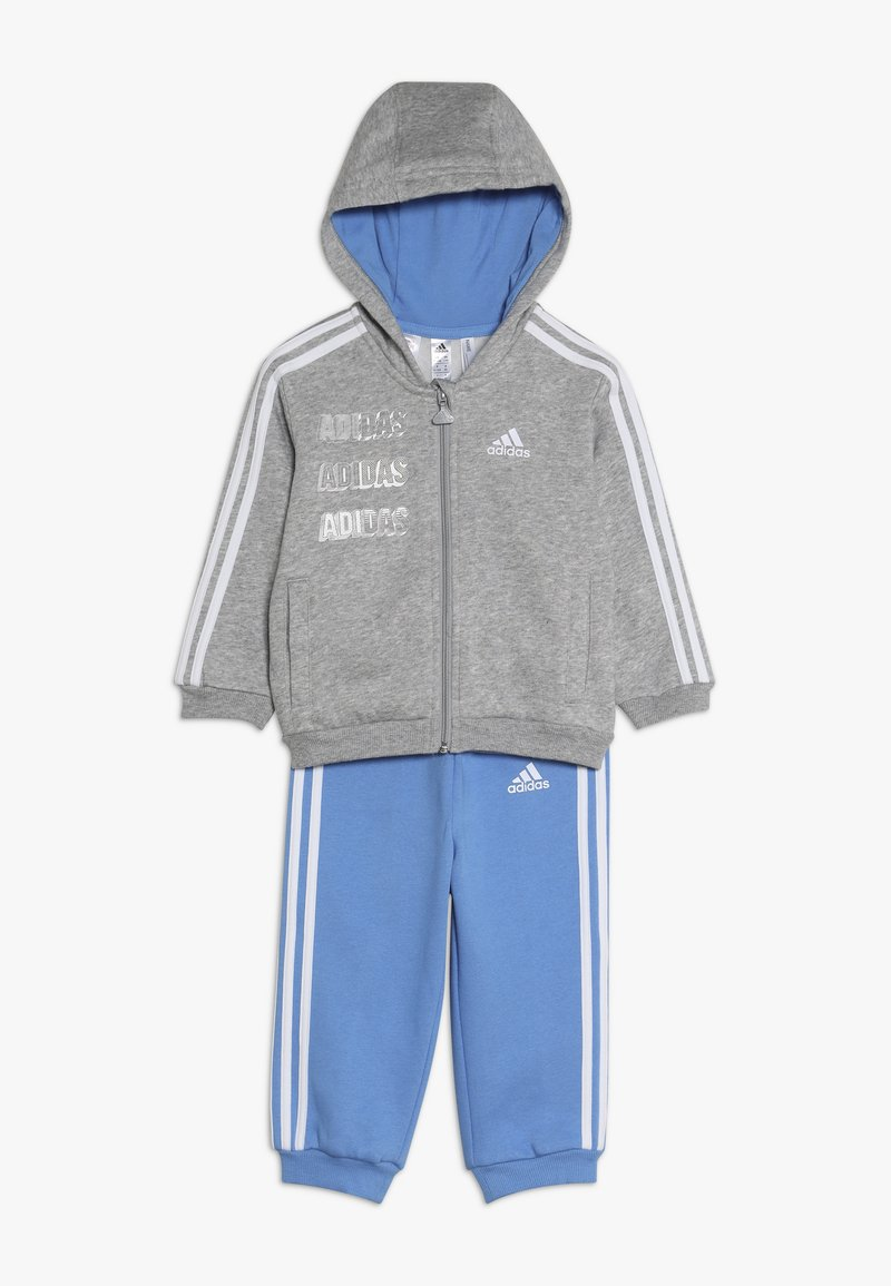 adidas Performance - LOGO FULL ZIP HOODED TRACKSUIT BABY SET - Tepláková souprava - mottled light grey/blue