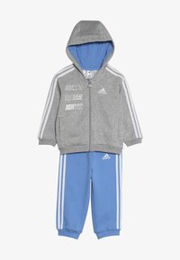 adidas Performance - LOGO FULL ZIP HOODED TRACKSUIT BABY SET - Tepláková souprava - mottled light grey/blue - 4