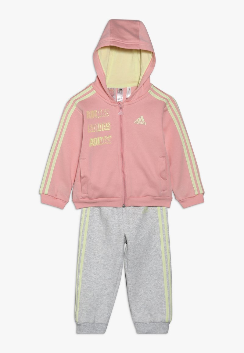 adidas Performance - LOGO FULL ZIP HOODED TRACKSUIT BABY SET - Chándal - pink/yellow