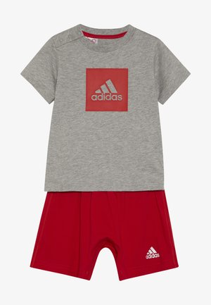 LOGO SUMMER TRACKSUIT BABY SET - Trainingspak - grey/vivred