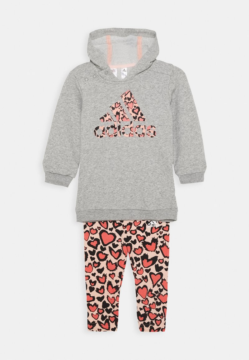adidas Performance - FAVOURITES TRAINING SPORTS TRACKSUIT BABY SET - Tracksuit - medium grey heather/coral/red