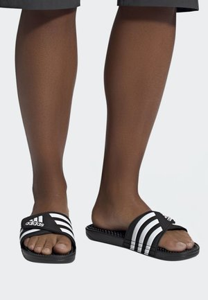 ADISSAGE SLIDES - Pantolette flach - black/white