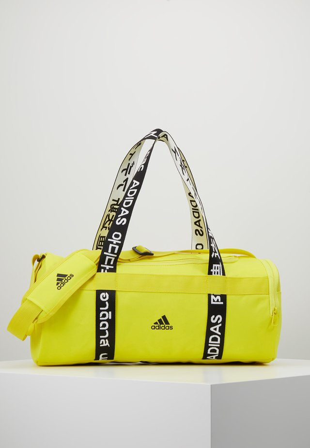 4ATHLTS ESSENTIALS 3STRIPES SPORT DUFFEL BAG - Sporttasche - shock yellow/white/black