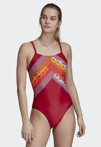 adidas Performance - ATHLY LIGHT GRAPHIC SWIMSUIT - Swimsuit - red - 0