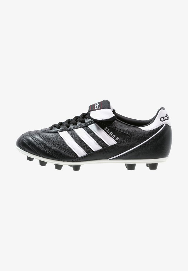 KAISER 5 LEATHER FOOTBALL BOOTS FIRM GROUND - Botas de fútbol con tacos - black/running white/rot