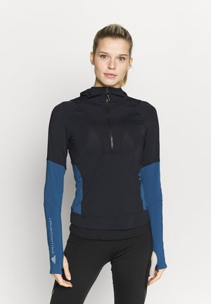 HOODED - Sports shirt - black/blue