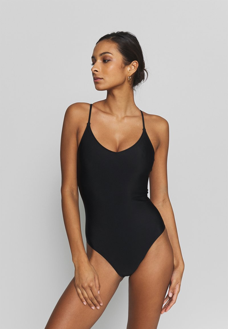 aerie - ONE PIECE STRAPPY BACK BASIC SOLID - Maillot de bain - true black